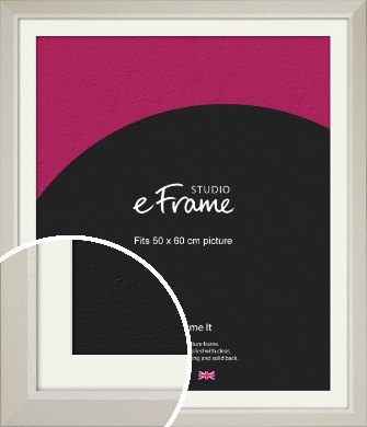 Wide Chamfered Natural Cream Picture Frame & Mount, 50x60cm (VRMP-889-M-50x60cm)