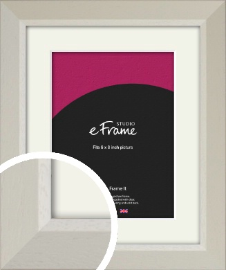 Wide Chamfered Natural Cream Picture Frame & Mount, 6x8