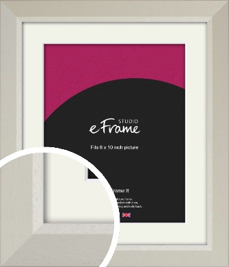 Wide Chamfered Natural Cream Picture Frame & Mount, 8x10