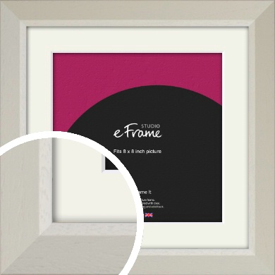 Wide Chamfered Natural Cream Picture Frame & Mount, 8x8