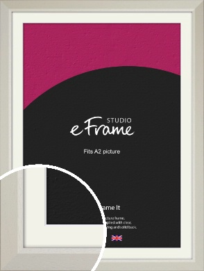 Wide Chamfered Natural Cream Picture Frame & Mount, A2 (420x594mm) (VRMP-889-M-A2)