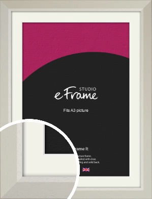 Wide Chamfered Natural Cream Picture Frame & Mount, A3 (297x420mm) (VRMP-889-M-A3)