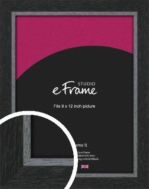 Chamfered Black Picture Frame, 9x12