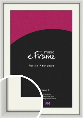 Narrow Basic Silver Picture Frame & Mount, 11x17