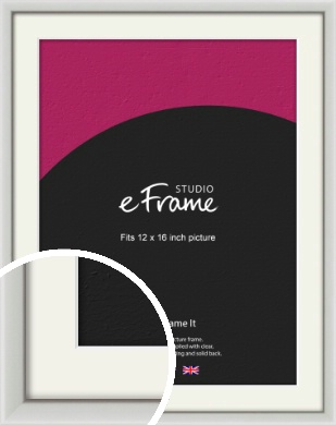 Narrow Basic Silver Picture Frame & Mount, 12x16