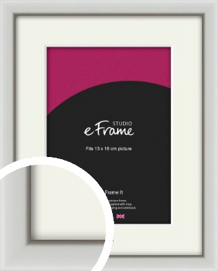 Narrow Basic Silver Picture Frame & Mount, 13x18cm (5x7