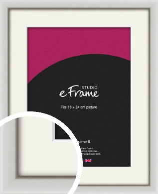 Narrow Basic Silver Picture Frame & Mount, 18x24cm (VRMP-557-M-18x24cm)