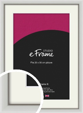 Narrow Basic Silver Picture Frame & Mount, 20x30cm (8x12