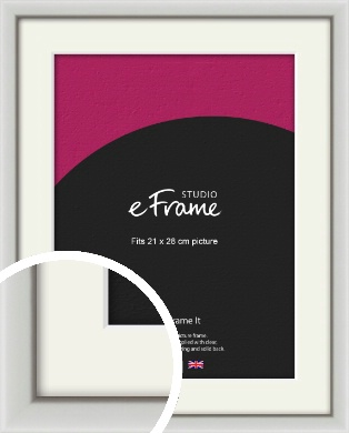 Narrow Basic Silver Picture Frame & Mount, 21x28cm (VRMP-557-M-21x28cm)