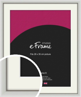 Narrow Basic Silver Picture Frame & Mount, 28x35cm (VRMP-557-M-28x35cm)
