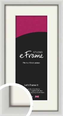 Narrow Basic Silver Picture Frame & Mount, 4x10