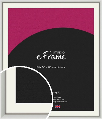 Narrow Basic Silver Picture Frame & Mount, 50x60cm (VRMP-557-M-50x60cm)