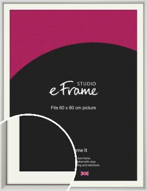 Narrow Basic Silver Picture Frame & Mount, 60x80cm (VRMP-557-M-60x80cm)