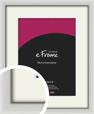 Narrow Basic Silver Picture Frame & Mount, 6x8