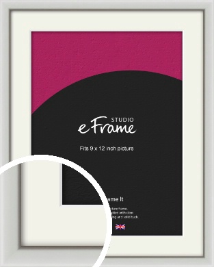 Narrow Basic Silver Picture Frame & Mount, 9x12