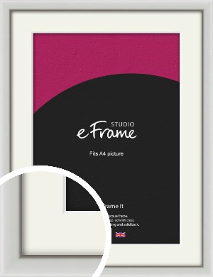 Narrow Basic Silver Picture Frame & Mount, A4 (210x297mm) (VRMP-557-M-A4)