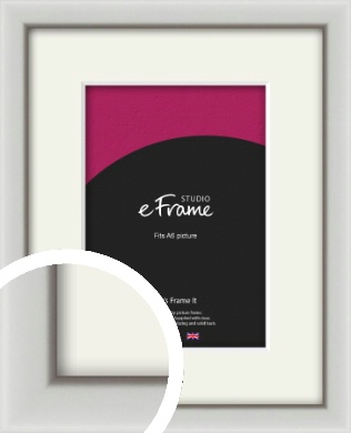 Narrow Basic Silver Picture Frame & Mount, A6 (105x148mm) (VRMP-557-M-A6)