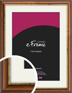 Distressed Gold Edge Brown Picture Frame & Mount, A4 (210x297mm) (VRMP-291-M-A4)