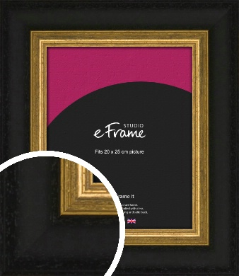 Extra Wide Retro Gold & Black Picture Frame, 20x25cm (8x10