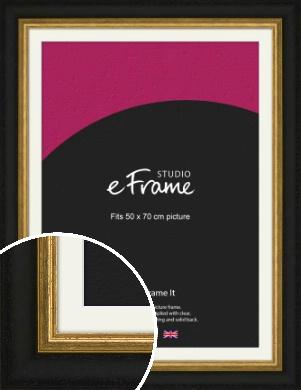 Extra Wide Retro Gold & Black Picture Frame & Mount, 50x70cm (VRMP-899-M-50x70cm)