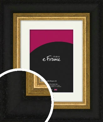 Extra Wide Retro Gold & Black Picture Frame & Mount (VRMP-899-M)