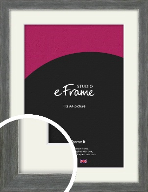 Heavily Brushed Silver Picture Frame & Mount, A4 (210x297mm) (VRMP-900-M-A4)