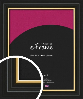 Boutique Gold Highlight Black Picture Frame, 24x30cm (VRMP-909-24x30cm)