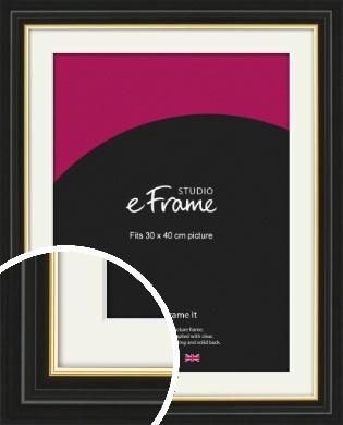 Boutique Gold Highlight Black Picture Frame & Mount, 30x40cm (VRMP-909-M-30x40cm)