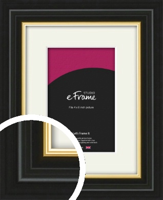 Boutique Gold Highlight Black Picture Frame & Mount, 4x6