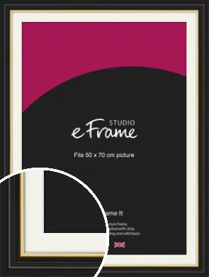 Boutique Gold Highlight Black Picture Frame & Mount, 50x70cm (VRMP-909-M-50x70cm)