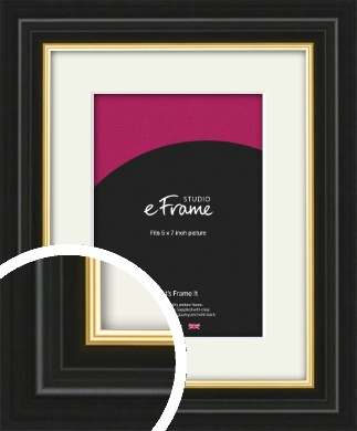 Boutique Gold Highlight Black Picture Frame & Mount, 5x7