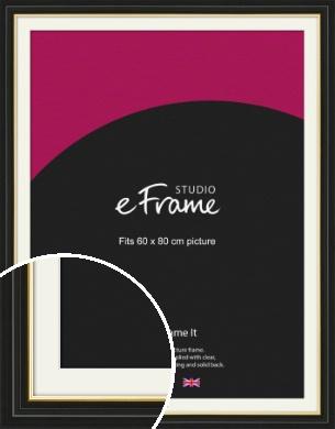 Boutique Gold Highlight Black Picture Frame & Mount, 60x80cm (VRMP-909-M-60x80cm)