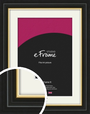 Boutique Gold Highlight Black Picture Frame & Mount, A4 (210x297mm) (VRMP-909-M-A4)