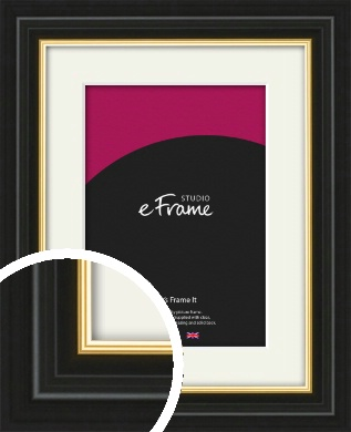 Boutique Gold Highlight Black Picture Frame & Mount (VRMP-909-M)