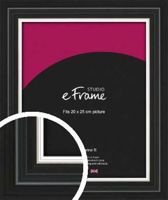 Silver Highlight Black Picture Frame, 20x25cm (8x10