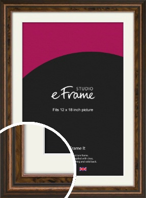 Vintage Crafted Brown Picture Frame & Mount, 12x18