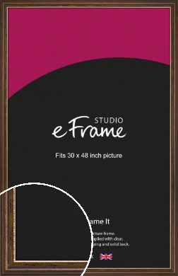 Gold Beaded Brown Picture Frame, 30x48