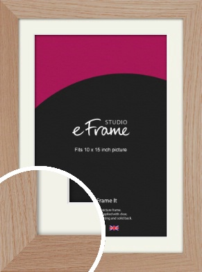 Essential Oak Natural Wood Picture Frame & Mount, 10x15