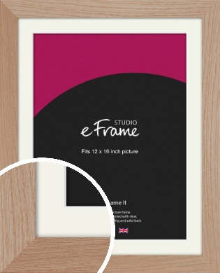 Essential Oak Natural Wood Picture Frame & Mount, 12x16