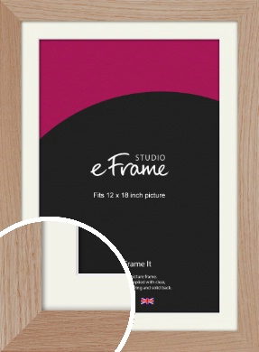 Essential Oak Natural Wood Picture Frame & Mount, 12x18