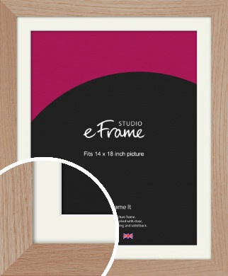 Essential Oak Natural Wood Picture Frame & Mount, 14x18