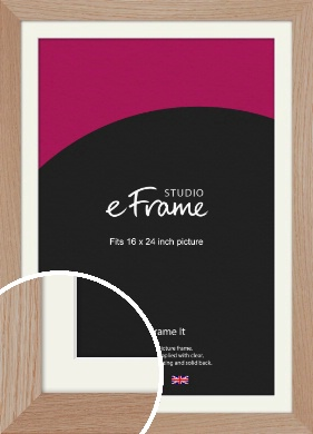 Essential Oak Natural Wood Picture Frame & Mount, 16x24