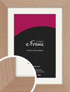 Essential Oak Natural Wood Picture Frame & Mount, 20x30cm (8x12