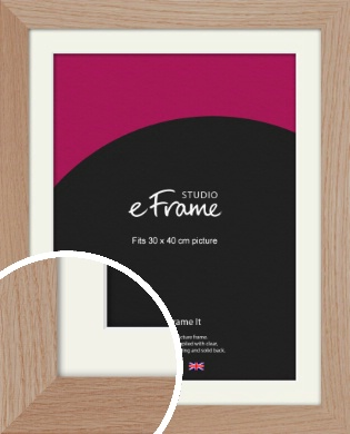 Essential Oak Natural Wood Picture Frame & Mount, 30x40cm (VRMP-427-M-30x40cm)
