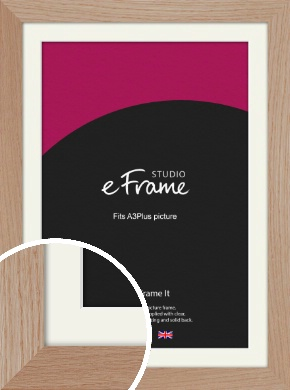 Essential Oak Natural Wood Picture Frame & Mount, A3Plus (VRMP-427-M-329x483mm)