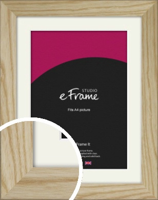 Durable Raw Natural Wood Picture Frame & Mount, A4 (210x297mm) (VRMP-914-M-A4)