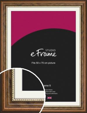 Gold Souk & Scooped Dark Brown Picture Frame & Mount, 50x70cm (VRMP-922-M-50x70cm)