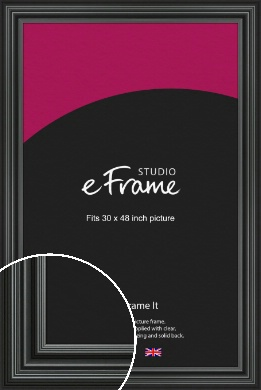 Imposing Grooved Black Picture Frame, 30x48