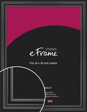 Imposing Grooved Black Picture Frame, 36x48