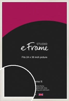 Chamfered Natural Cotton Cream Picture Frame, 24x36